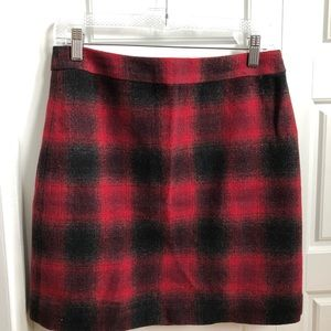 Wool black and red plaid mini skirt